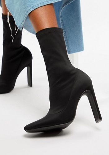 Boohoo Pointed Heeled Sock Boot