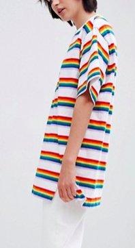 Monki Rainbow Stripe Oversized Tee