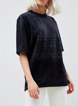 adidas Originals Velour Oversized T-Shirt In Black