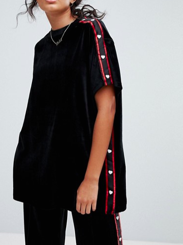 Lazy Oaf Oversized T-Shirt In Velour With Heart Poppers
