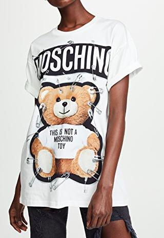 Moschino Safety Pin Oversized Bear Tee
