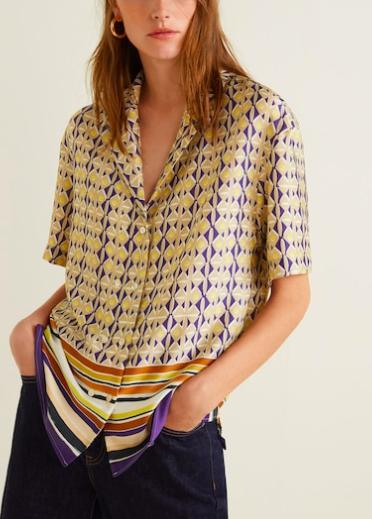 Mango Scarf print blouse