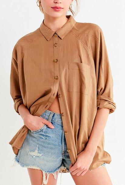 UO Brendan Button-Down Linen Shirt