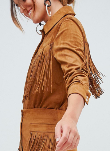 Mango fringe faux suede shirt in brown