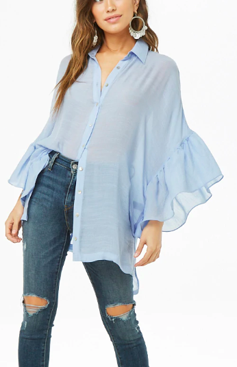 Forever 21 Ruffled High-Low Shirt