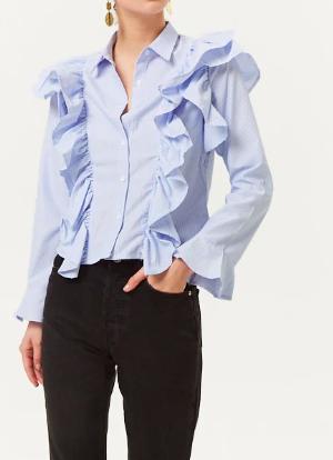 Forever 21 Pinstriped Ruffled Shirt