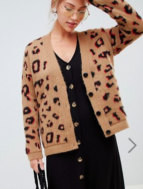 ASOS DESIGN chunky cardigan in leopard