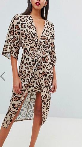 ASOS DESIGN satin kimono midi dress in leopard print