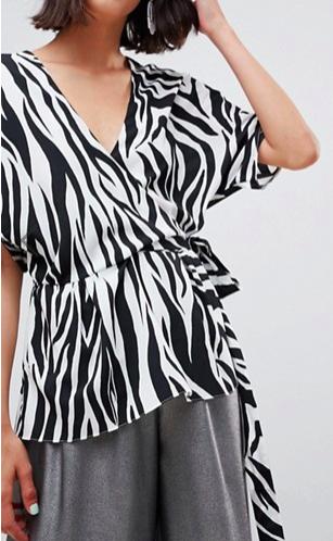 ASOS DESIGN wrap top with kimono sleeve in zebra print