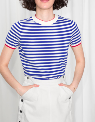 Stories Micro Knit Striped Top
