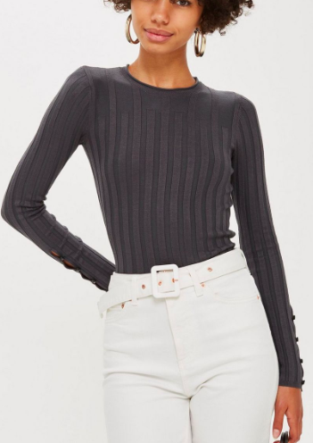 Topshop Ribbed Button Long Sleeve Top