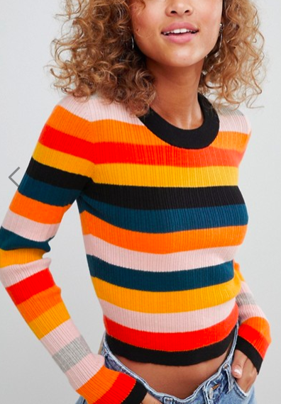 ASOS DESIGN ribbed sweater in fine knit in stripe