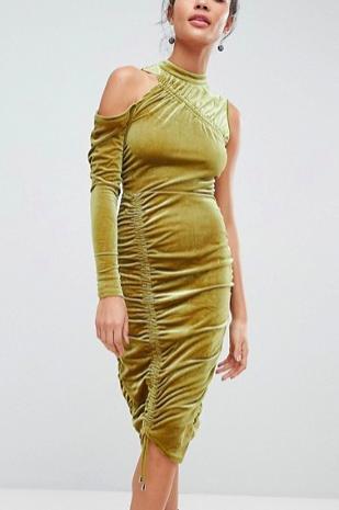 ASOS High Neck Ruched Velvet Midi Bodycon Dress