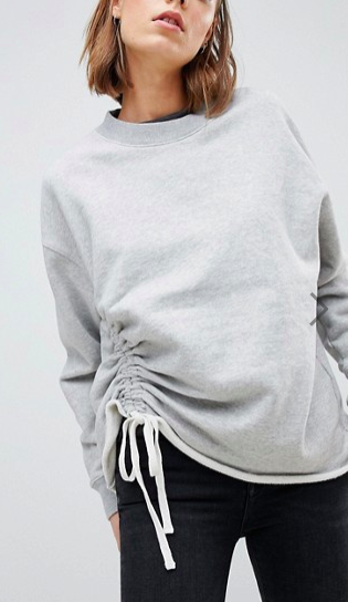 AllSaints Sweat Top with Ruched Tie