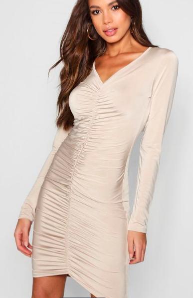 Boohoo Tall Ruched Bodycon Mini Dress
