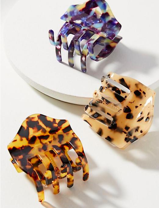 ANthropologie Scalloped Tortoise Hair Clip Set