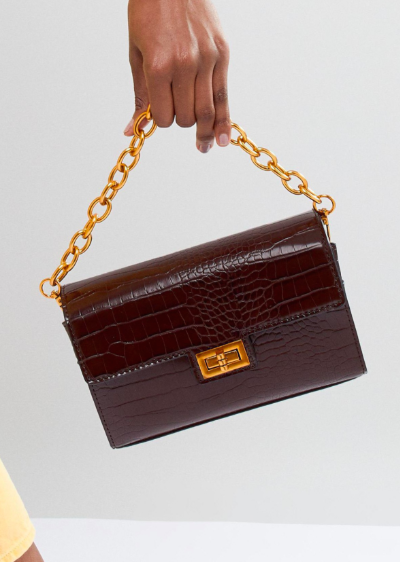 ASOS DESIGN croc structured boxy cross body with detachable strap