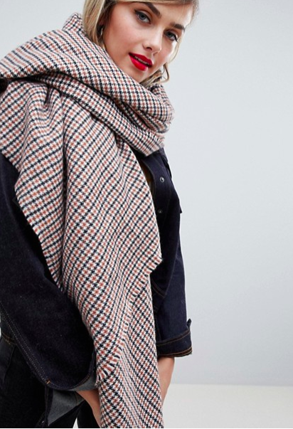 ASOS DESIGN oversized square scarf in tweed check