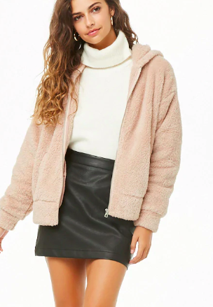 Forever 21 Faux Fur Zip-Up Hoodie