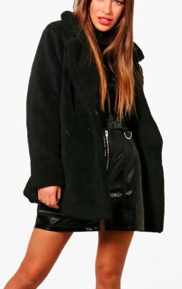boohoo Petite Double Breasted Teddy Coat