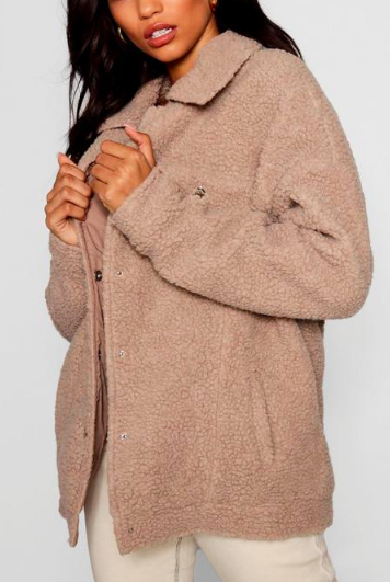 Boohoo Teddy Faux Fur Trucker