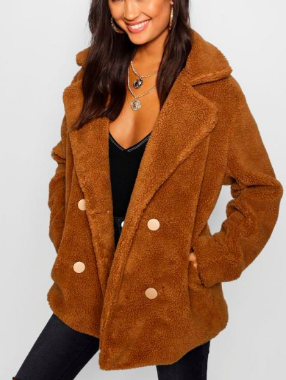 boohoo Double Breasted Teddy Coat