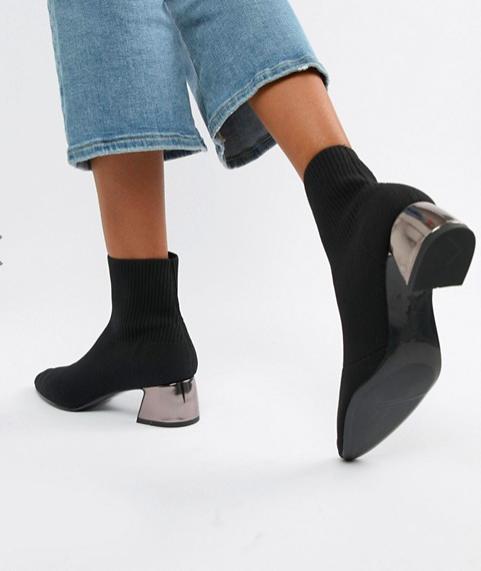 Stradivarius metalic heeled ankle boot