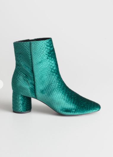 Stories Velvet Snake Ankle Boots