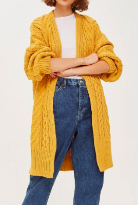 Topshop Cable Knit Longline Cardigan