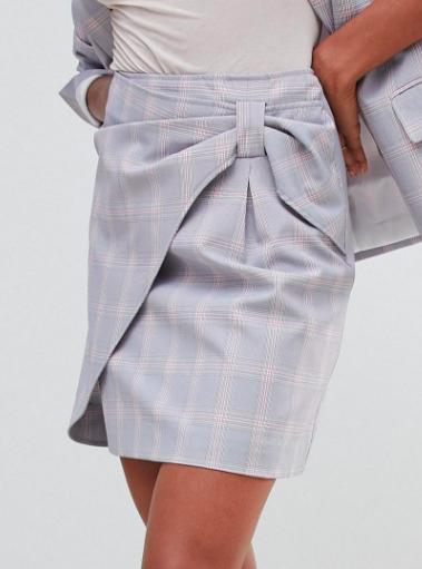 Oasis blazer & mini skirt in check two-piece