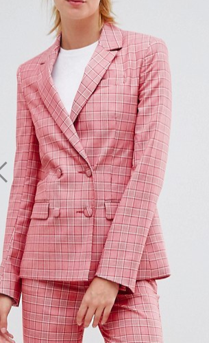 ASOS DESIGN Tall Tailored Double Breasted Blazer in Red Check
