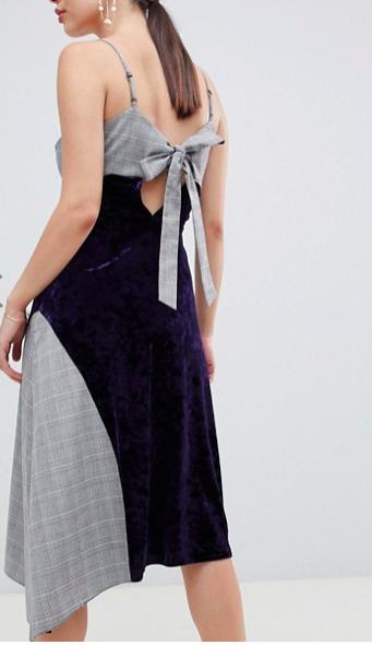 ASOS DESIGN velvet check mix midi dress