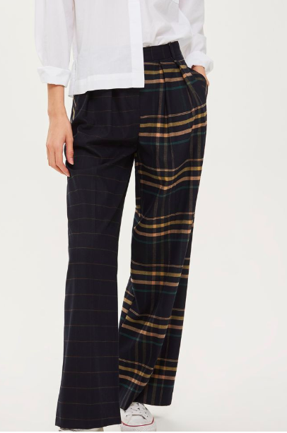 Topshop Mixed Check Wide Leg Trousers
