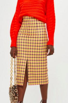 Topshop Check Midi Skirt