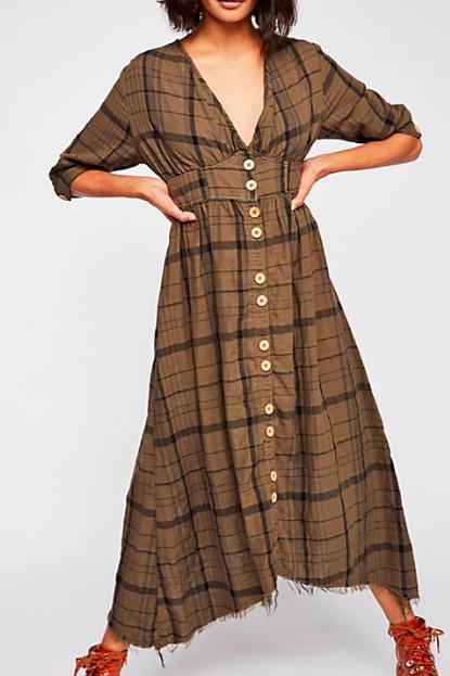 FP Laura Plaid Midi Dress