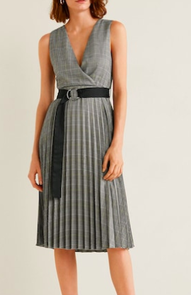 Mango Belt pleated dress