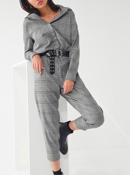 Lucca Couture Dylan Plaid Jumpsuit