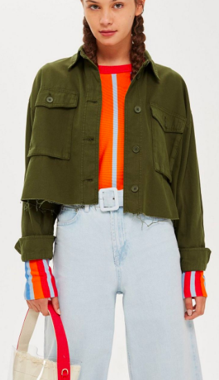 Topshop Raw Hem Crop Shacket