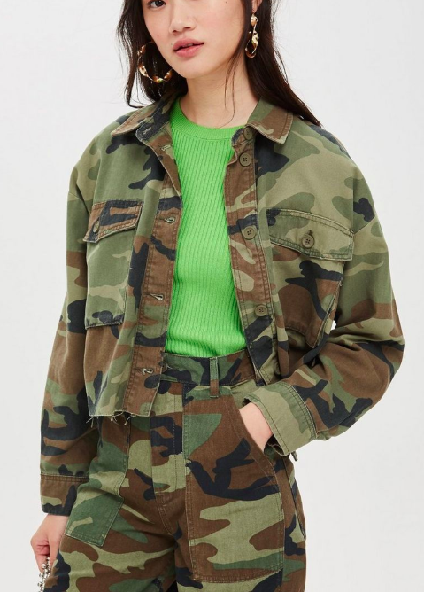 Topshop Cropped Camouflage Shacket