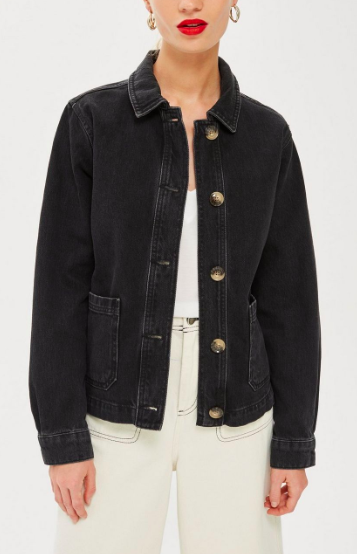 Topshop Horn Button Denim Shacket