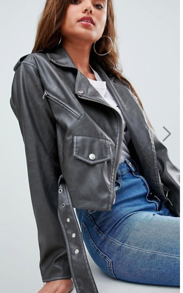 ASOS Leather Look Washed Biker Jacket