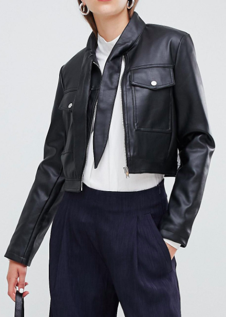 ASOS DESIGN Tie Neck Leather Look Jacket