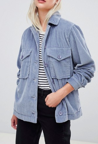 ASOS DESIGN cord oversize jacket in blue