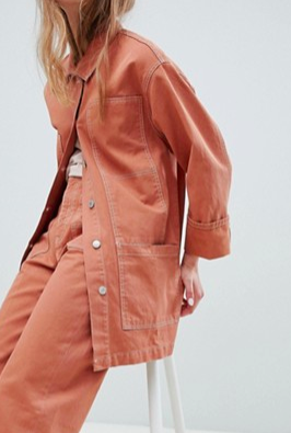 Pull&Bear two-piece denim jacket in terracota