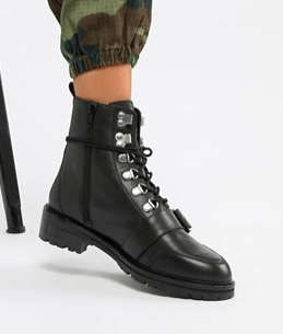 ASOS DESIGN Arya leather hiker ankle boots
