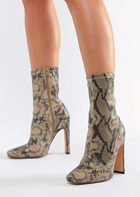 Missguided heeled ankle boots in snake print