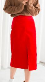 Stories Front Slit Corduroy Midi Skirt