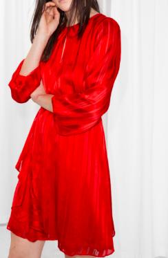 Stories Satin Asymmetric Ruffle Dress
