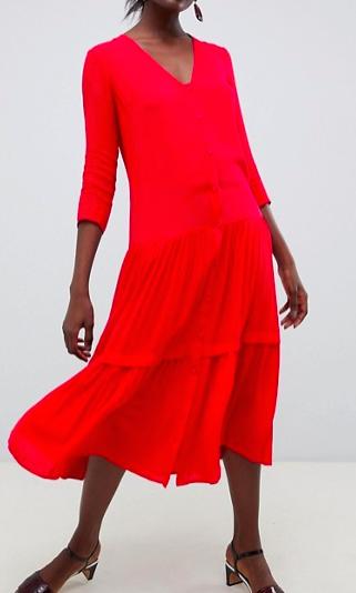 ASOS DESIGN casual crinkle button through maxi dress
