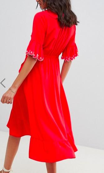 Moon River frill wrap midi dress